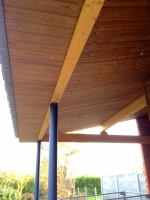 Overdekt terras - afwerking in hout